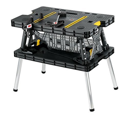 Keter Folding Compact Workbench Sawhorse Work Table with Clamps 1000 lb Capacity. - Portable Workbench