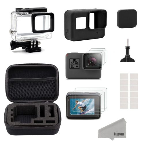Kupton Accessories for GoPro Hero 6/5 Black Starter Kit Travel Case Small + Housing Case + Screen Protector + Lens Cover + Silicone Protective Case for Go Pro Hero 6/5 Outdoor Sport Kit - GoPro Cases