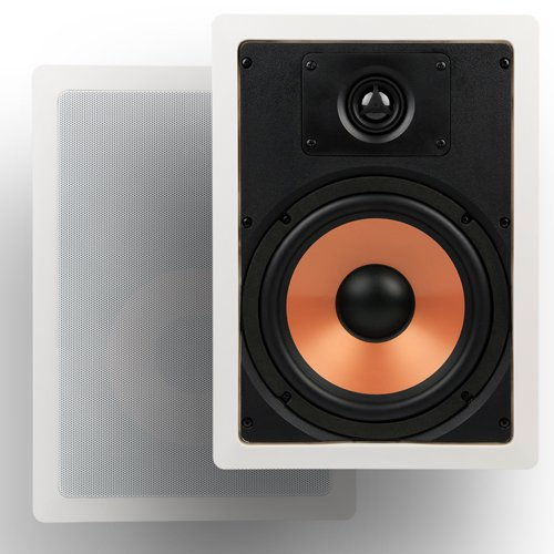 """Micca M-8S 8 Inch 2-Way In-Wall Speaker with Pivoting 1"""" Silk Dome Tweeter (Each, White) - In-wall Speakers"""