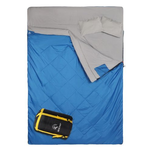 """REDCAMP Double Sleeping Bag for Camping,2 Person Sleeping Bags with 2 Pillows, Queen Size Blue 3.3lbs Filling(75+12)""""x 59"""" - Double Sleeping Bags"""