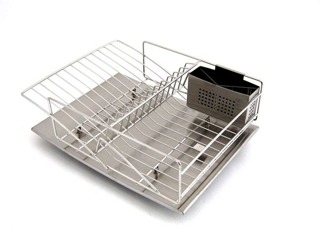 Zojila Rohan dish rack, drain board and utensil holder, brushed stainless steel - Dish Rack