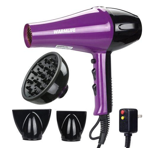 Warmlife 2000W Hair Dryer Professional Salon Powerful Ionic Hair Blow Dryer AC Motor Styling Tool (1875W Purple) - Hair Dryer for Curly