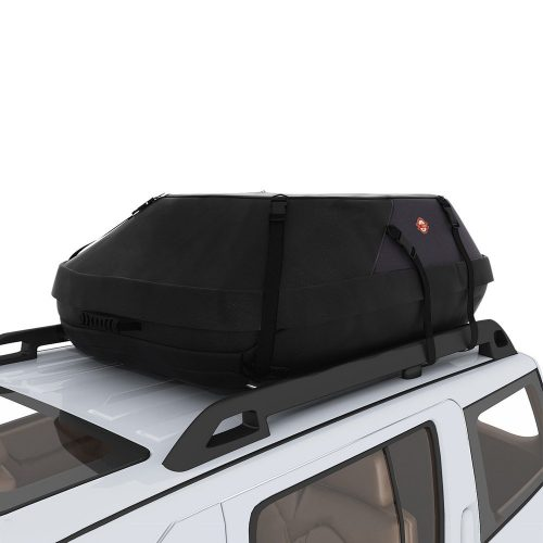 COOCHEER 20 Cubic Feet Waterproof Car Top Carrier- Roof Cargo Bag Box Easy to Install Soft Rooftop Luggage Carriers with Wide Straps, Best for Traveling, Cars, Vans, SUVs (20 Cubic Feet, Black) - Best Waterproof Roof Top Cargo Bags