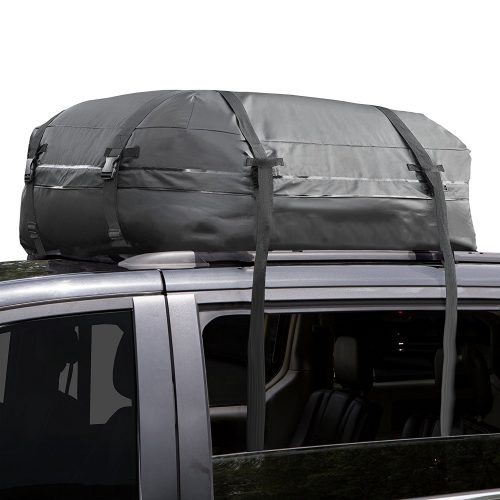 Cargo Roof Bag - 100% Waterproof – NO RACKS NEEDED – Easy to Install - Soft Rooftop Luggage Carriers with Wide Straps –Folds Easily - Best for Traveling, Cars, Vans, SUVs (Black - 15 Cubic Feet) - Best Waterproof Roof Top Cargo Bags