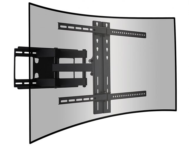 Cattail Curved and Flat TV Wall Mount Dual Articulating Arm Bracket With Full Motion Swing Out Tilt For 42-65 Inch LED LCD OLED Plasma Screen Monitor Up To 110 Lbs. VESA 400x600mm, Includes HDMI Cable - Curved and Flat TV Wall Mount Bracket