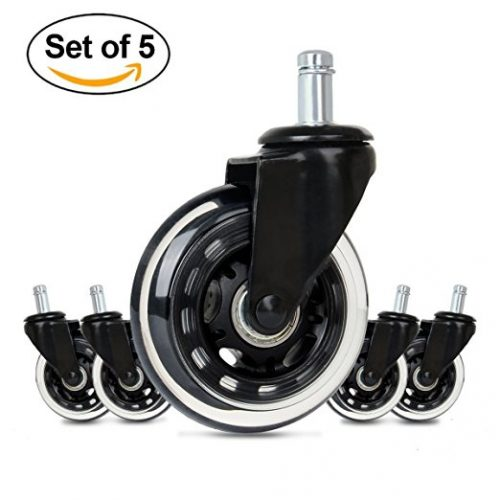 Cusfull Premium Office Chair Caster Wheels Replacement Standard Size 3-Inch Heavy Duty & Safe for Any Floor Black ABEC-7 Bearings (Set of 5) - Office Chair Caster Wheels