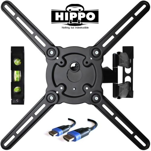 """HIPPO HP679TS Curved & Flat Panel TV Wall Mount Bracket for 26""""-55"""" TVs up to 88 lbs., VESA 400x400mm, Full Motion Swivel Articulating 20"""" Extension Arm, 6.5 ft. HDMI Cable & Bubble Level Included - Curved and Flat TV Wall Mount Bracket"""