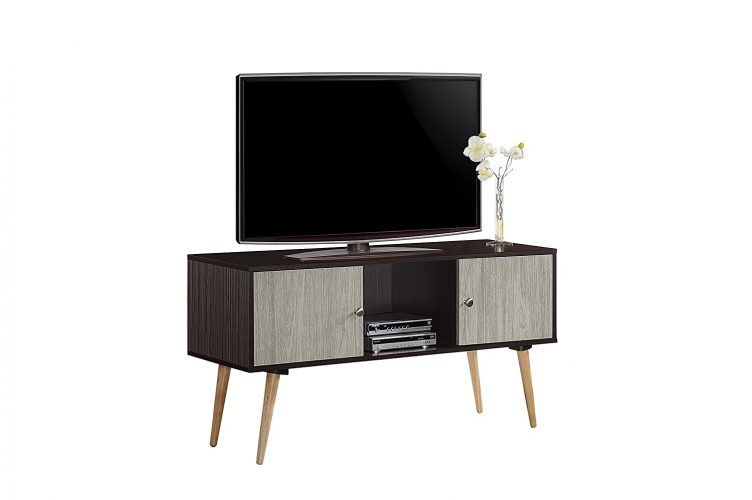Hodedah Retro Style TV Stand with Two Storage Doors, and Solid Wood Legs - Wooden TV Stand