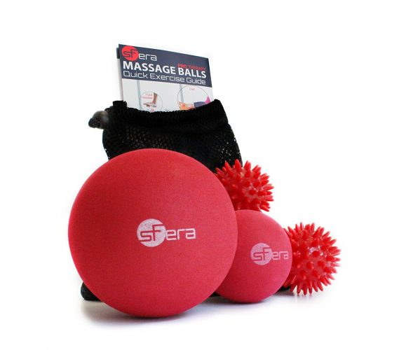 Massage Ball Set for Myofascial, Deep Tissue and Trigger Point/Muscle Knot Release. 4 Premium Massage Balls: 1 XLarge, 1 small firm, 2 spiky balls. - Massage Balls