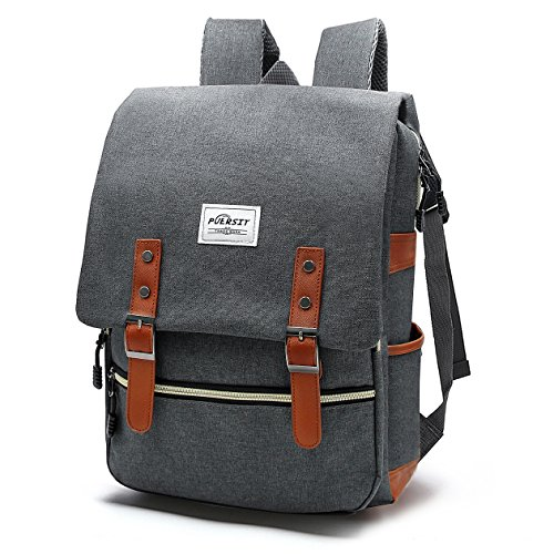 Vintage Laptop Backpack Canvas College Backpack School Bag Fits 15inch Laptop by Puersit - 15 inch laptop backpack