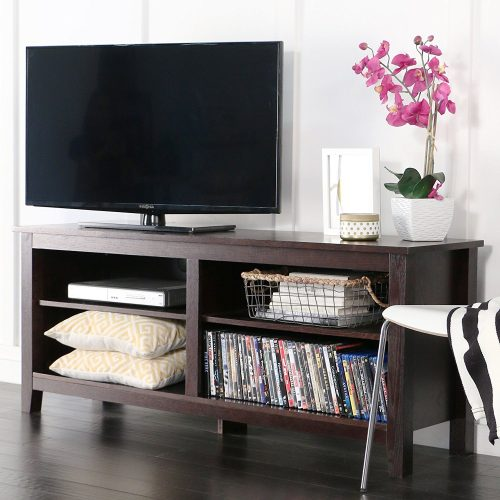 "WE Furniture 58"" Wood TV Stand Storage Console, Espresso - Wooden TV Stand"