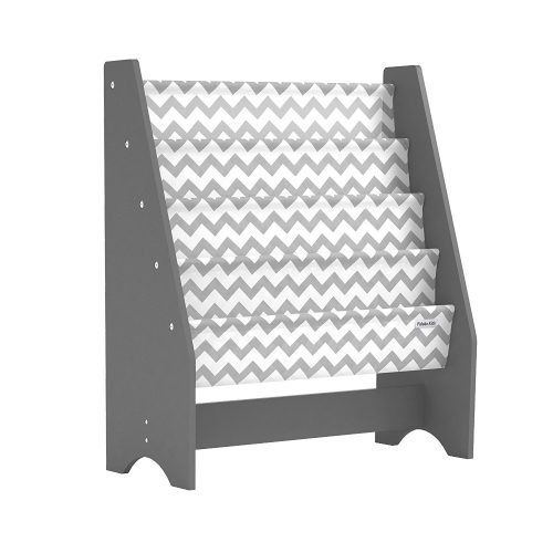pidoko kids sling bookcase grey with chevron wooden childrens bookshelf with pocket storage book - Bookshelves For Toddlers
