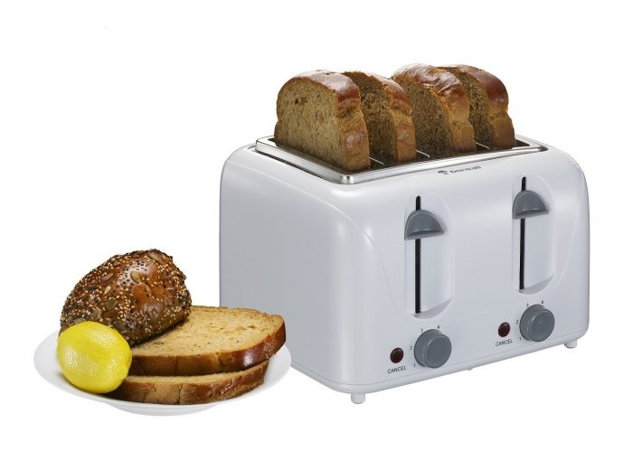 Bonsaii T869 Stylish 4-Slice Toaster with 6 Temperature Control; Cancel Button and Easy Clean Removable Crumb Tray, White - 4 Slice Toaster