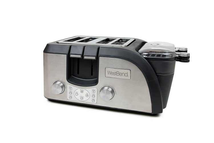 West Bend Toaster Oven Breakfast Station, Egg and Muffin Sandwich Maker, Silver/Black –TEMPR100 - 4 Slice Toaster