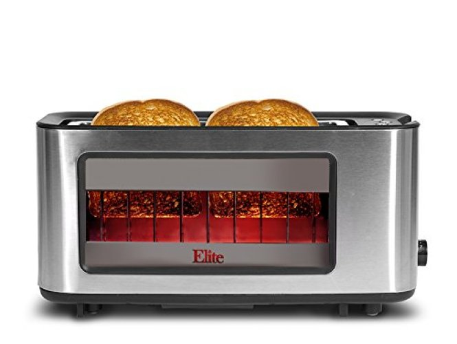 Maxi-Matic ECT-153 Elite Platinum Glass Sided Toaster Silver - See-through Toasters