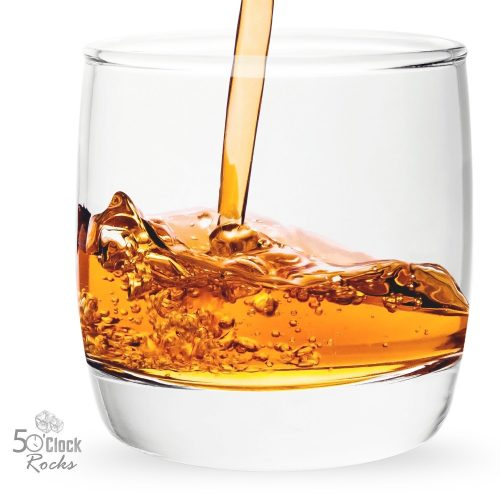 5 O'Clock Rocks 6.5-Ounce Scotch and Whiskey Glasses with FREE Mixologist Recipe Book (Set of 2). Great Gift for Dad - Highball Glass