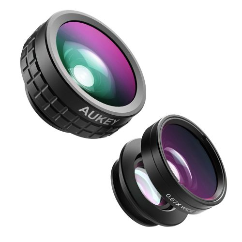 AUKEY Optic iPhone Camera Lens, 180° Fisheye Lens + 110° Wide Angle + 10X Macro Mini Clip-on iPhone Lens Kit for iPhone, Samsung, Android Smartphones - Smartphones Fisheye Lens