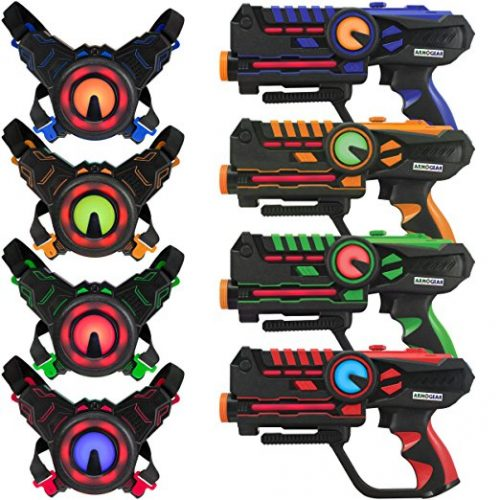 ArmoGear Infrared Laser Tag Guns and Vests - Laser Battle Mega Pack Set of 4 - Infrared 0.9mW - Laser Tag Toys