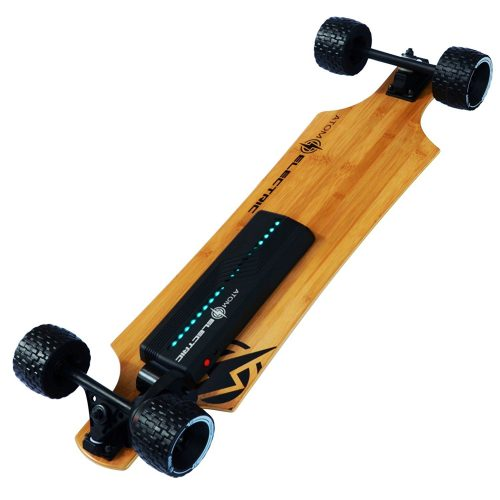 Atom Longboards Electric B10.X1 All Terrain Longboard Skateboard (90Wh Lithium Battery & 1000W Motor), Wood - off-road skateboards