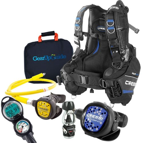 Cressi Aquaride Blue Pro Scuba Gear Packages with/ MC9 Compact Regulator and Octo C2 Dive Computer with/GupG Reg Bag - Scuba Gear Packages