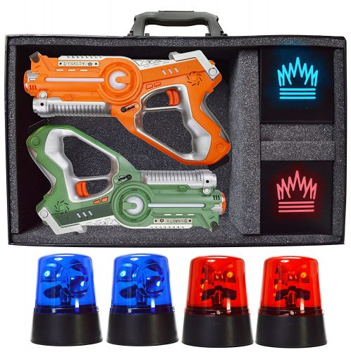 Dynasty Toys Capture the Flag Glow in the Dark Laser Tag Game for Indoor Games at Home / Outdoor Night Birthday Party - Laser Tag Guns