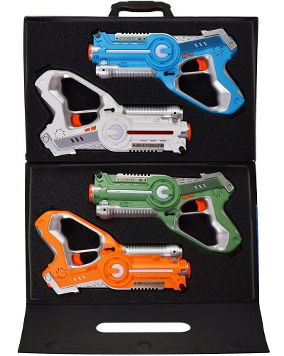 Dynasty Toys Laser Tag Set and Carrying Case for Kids Multiplayer 4 Pack - Laser Tag Guns