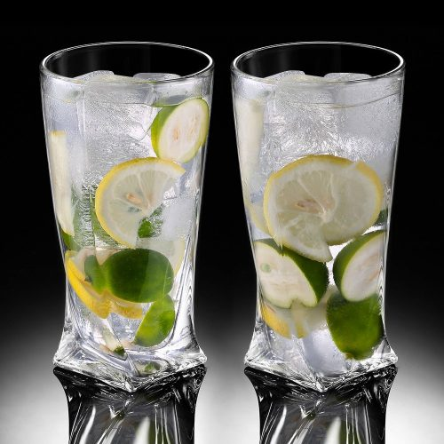 Ecooe 11oz / 330ml (Full capacity) Crystal Highball Glasses for Cocktail, Juice, Beer and More, Drinking Glassware Set of 2 - Highball Glass