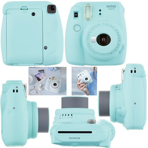 Fujifilm Instax Mini 9 Instant CameraICE BLUE+ Fuji INSTAX Film + Accessories Kit Bundle + Custom Case with Strap + Assorted Frames + Photo Album + 60 Colorful Sticker Frames - instant film cameras