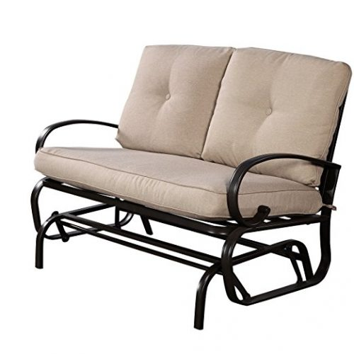 Giantex Outdoor Patio Rocking Bench Glider Loveseat Cushioned 2 Seats Steel Frame Furniture - Patio Gliders