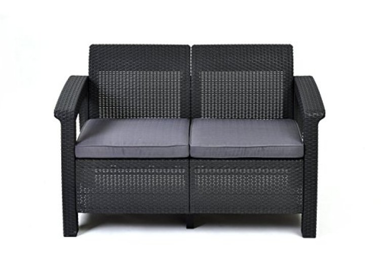 Keter Corfu Love Seat All Weather Outdoor Patio Garden Furniture w/ Cushions, Charcoal - Patio Gliders
