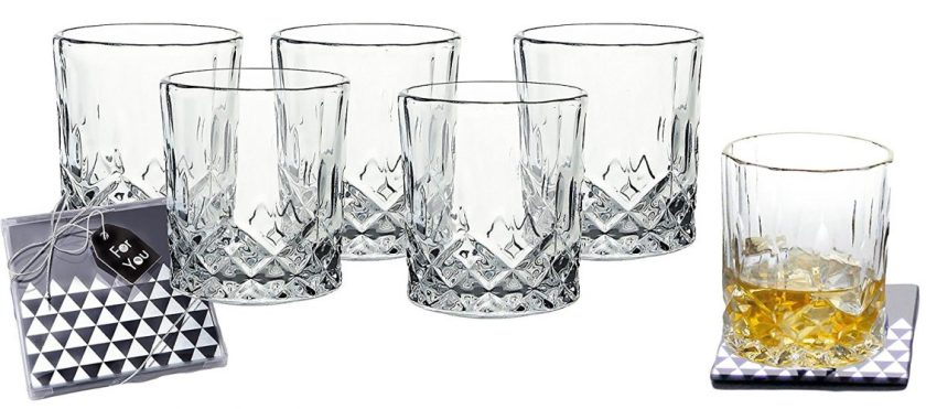 Lead-Free Crystal Double Old-Fashioned Highball Water Glasses, SET OF 6, Heavy Base Barware Glasses Set, 8oz Drinking Glasses. Free Set of 2 Bar Drink Coasters Included - Highball Glass