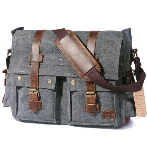 "Lifewit 17.3"" Men's Messenger Bag Vintage Canvas Leather Military Shoulder Laptop Bags - laptop messenger bag"