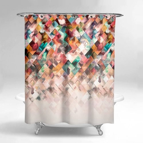 Lume.ly - Modern Ombre Geometric Pattern Design Fabric Shower Curtain- Shower Curtain