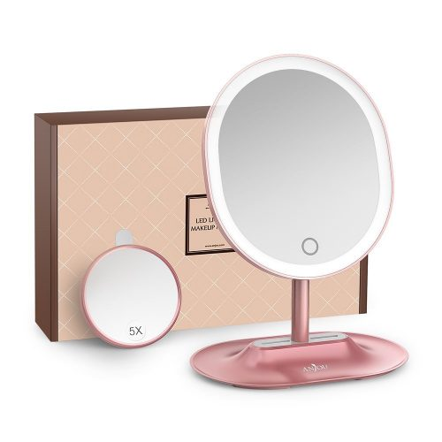 Makeup Mirror Rechargeable LED Lighted with 1X / 5 X Magnification, Anjou USB Rechargeable Vanity Mirror Touchscreen Dimmable LED Light  - Make Up Mirror