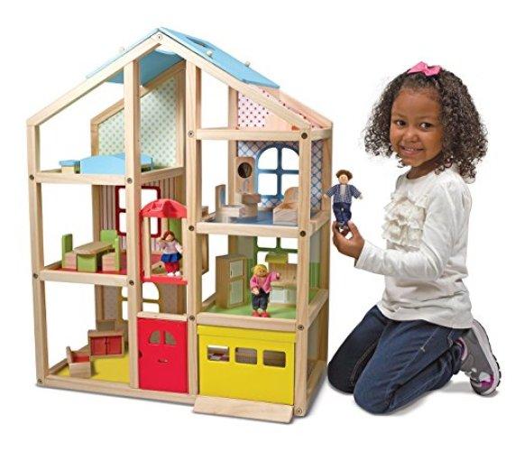 Melissa & Doug Hi-Rise Wooden Dollhouse - Doll House Toys