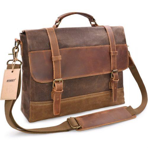 NEWHEY Men's Messenger Bag Waterproof Canvas Leather Computer Laptop Bag 15.6 Inch Briefcase Case Vintage Retro Waxed Canvas Genuine Leather Large Satchel Shoulder Bag College Brown - laptop messenger bag