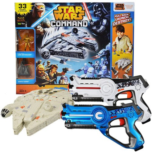 Power Brand Star Wars Millennium Falcon Toy Bundle with Laser Tag Pack of 2 - Laser Tag Guns