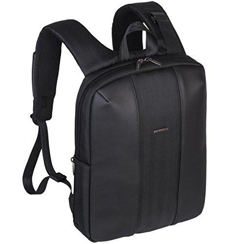 Rivacase 8125 13 - 14 Inch Laptop Backpack | Slim | Elegant | Waterproof | Black | PU Leather - 14-inch laptop backpacks