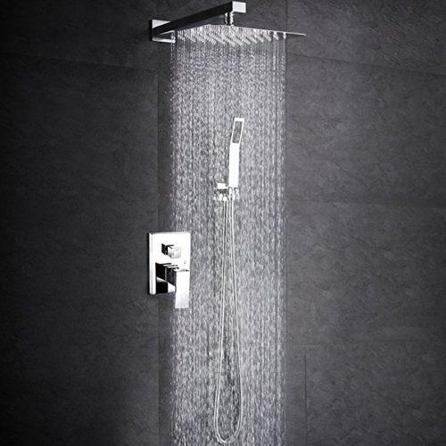 SR SUNRISE SRSH-F5043 Bathroom Luxury Rain Mixer Shower Combo Set Wall Mounted Rainfall Shower Head System Polished Chrome (Contain Shower faucet valve body and trim) - Rain Shower Heads