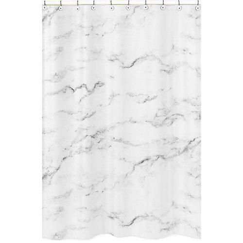 Sweet Jojo Designs Modern Grey, Black and White Marble Bathroom Fabric Bath Shower Curtain- Shower Curtain