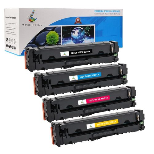 True Image 4 Packs High Yield 201A CF400A 201X CF400X Compatible Ink MFP M277dw M277 Toner Cartridge Replacement for Color Laserjet Pro MFP M277dw Toner ( CF400A CF401A CF402A CF403A ) - Laser Printer Replacement Toner