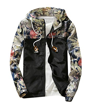 M2MO Mens Floral Long Sleeve Hooded Windbreaker Jacket Black US S - Windbreaker jackets