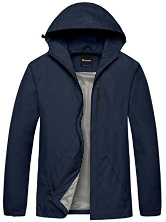 Wantdo Men's Packable Hooded Solid Color Skin Shell Jacket With UV Protect US Medium Navy - Windbreaker jackets