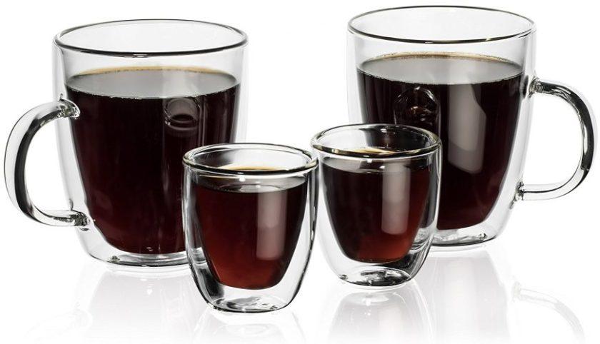 Hudson Essentials Double Wall Insulated Glass Coffee Mug 12 oz. and Espresso Cup 2.5 oz. - Set of 4. - Espresso Cup Set