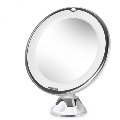 Beautural 10X Magnifying Lighted Vanity Makeup Mirror with Natural White LED, 360 Degree Swivel Rotation and Locking Suction. - Make Up Mirror
