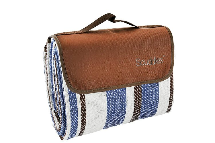 Extra Large Picnic & Outdoor Blanket Dual Layers For Outdoor Water-Resistant Handy Mat Tote Spring Summer Blue and White Striped Great for the Beach, Camping on Grass Waterproof Sand proof (SC-CM-01) - Picnic Blankets