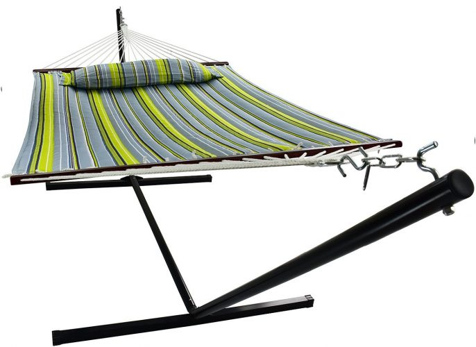 Sorbus Hammock with Spreader Bars and Detachable Pillow, Heavy Duty, 450 Pound Capacity, Accommodates 2 People, Perfect for Indoor/Outdoor Patio, Deck, Yard