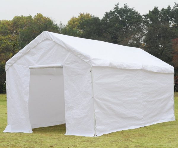 SNAIL 10 x 20-Feet Outdoor Enclosed Domain Carport Canopy Portable Storage Shelter with Side Walls, Anchor Set for Any Ground Condition, White