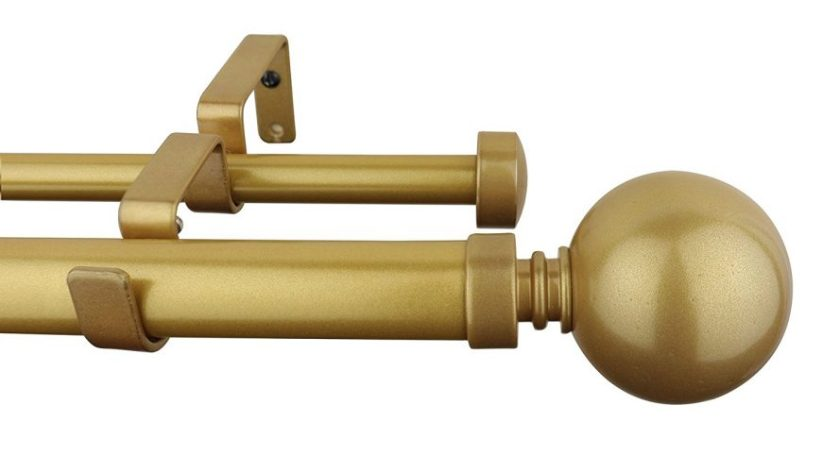 Meriville 1-Inch Diameter Ball Telescoping Double Window Treatment Curtain Rod, 28-Inch to 48-Inch, Gold