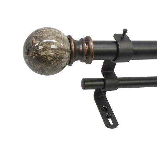 "Beme International 1"" Decopolitan Core Marble Ball Double Telescoping Drapery Rod Set, 72-144"", Brown"